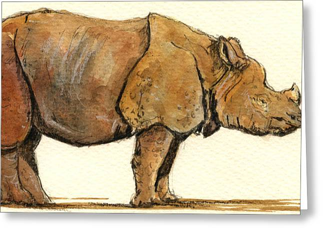 One Horned Rhino Greeting Cards - Greated one horned rhinoceros Greeting Card by Juan  Bosco