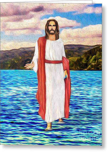 Christ Walking On Water Greeting Cards - Greater Things Shall Ye Do Greeting Card by Tarik Eltawil