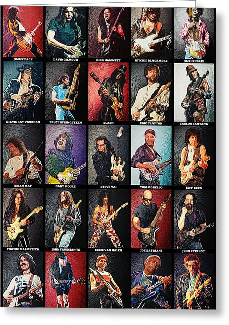Gibson Greeting Cards - Greatest guitarists of all time Greeting Card by Taylan Soyturk