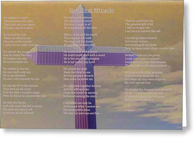 Born Again Mixed Media Greeting Cards - Greatest Miracle Greeting Card by Cliff Ball