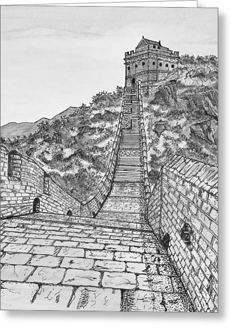 Stepping Stones Drawings Greeting Cards - Greatest Wall Ever Black and White Greeting Card by S AshleyAnn Goforth