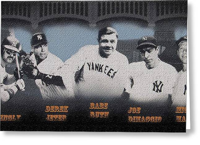 Sport Illustrations Mixed Media Greeting Cards - Greatest YANKS Ever Greeting Card by Dan Haraga