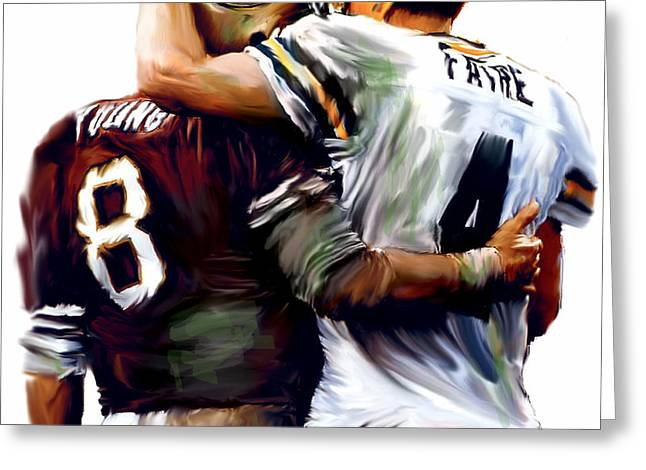 Greatness  Brett Favre and Steve Young  Greeting Card by Iconic Images Art Gallery David Pucciarelli