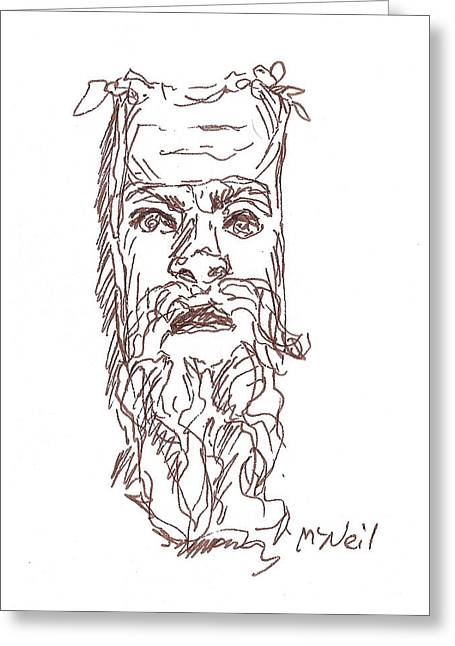 Sketchbook Greeting Cards - Grecian Mask Greeting Card by Sharon McNeil
