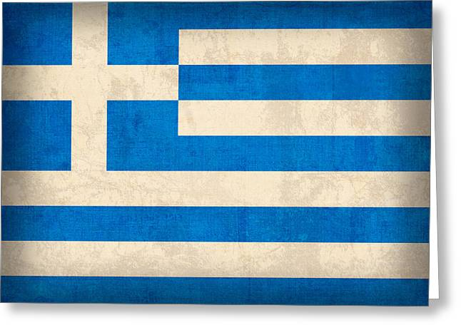 Acropolis Greeting Cards - Greece Flag Vintage Distressed Finish Greeting Card by Design Turnpike