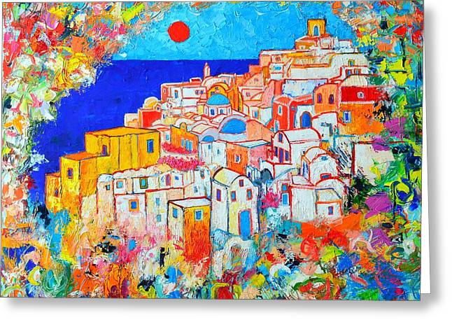 Sunset Abstract Greeting Cards - Greece - Santorini Island - Abstract Impression From Oia At Sunset - A Moment In Time Greeting Card by Ana Maria Edulescu