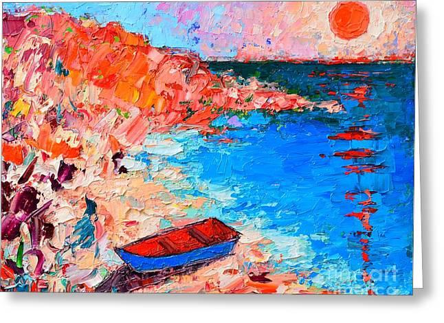Blue And Purple Sea Greeting Cards - Greece - Santorini Island - Fishing Boat On Akrotiri Beach At Sunrise Greeting Card by Ana Maria Edulescu