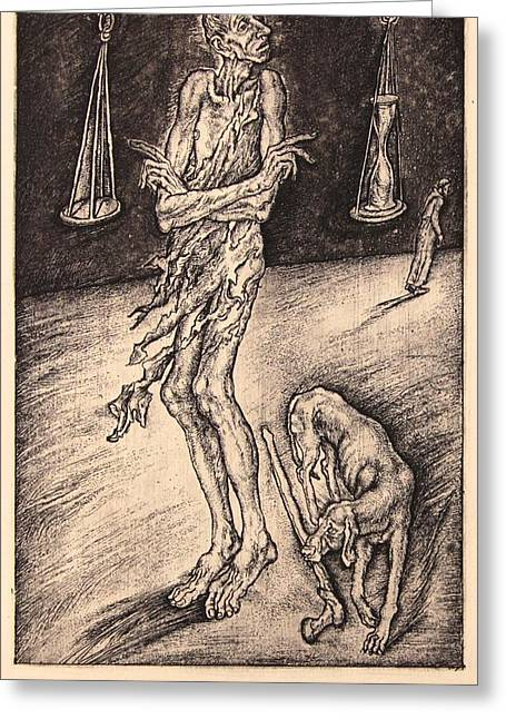 Drypoint Greeting Cards - Greed. Series Seven Deadly Sins Greeting Card by Leonid Stroganov