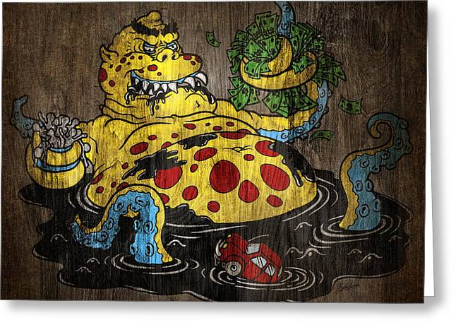 Illustrative Mixed Media Greeting Cards - Greedy Oil Greeting Card by Kyle Wood