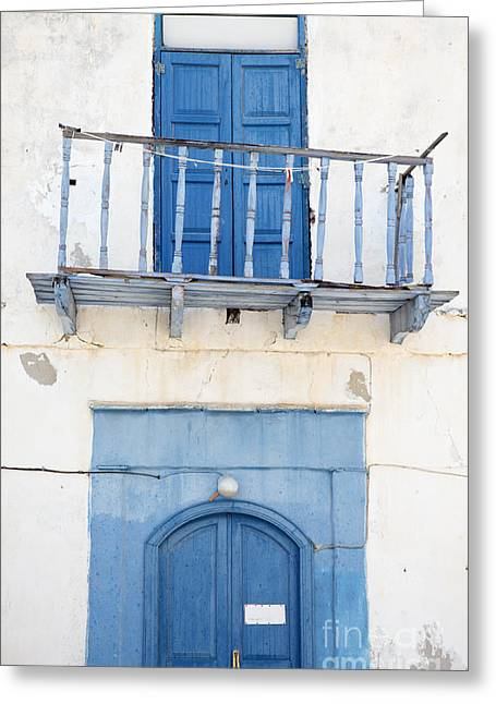 Entrance Door Greeting Cards - Greek Balcony Greeting Card by Neil Overy