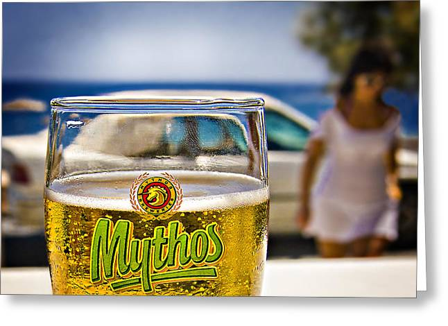 Greece Greeting Cards - Greek Beer Goggles Greeting Card by Meirion Matthias