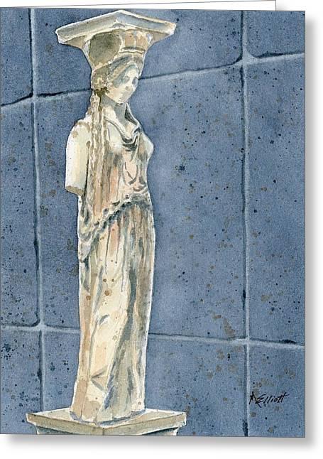 Greek Caryatid Greeting Card by Marsha Elliott