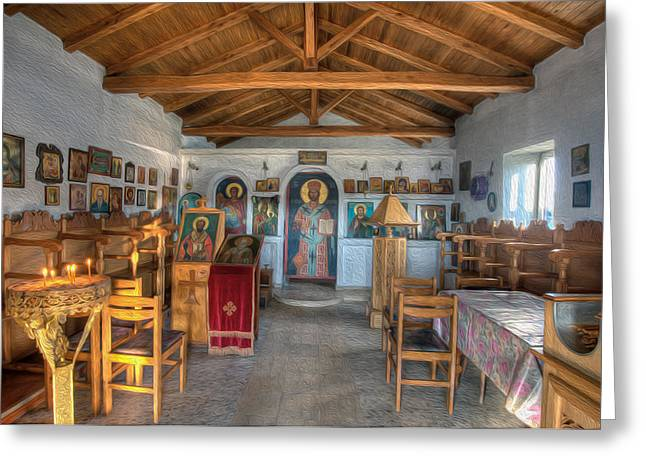 Altar Art Picture Greeting Cards - Greek Church Icons Greeting Card by Roy Pedersen