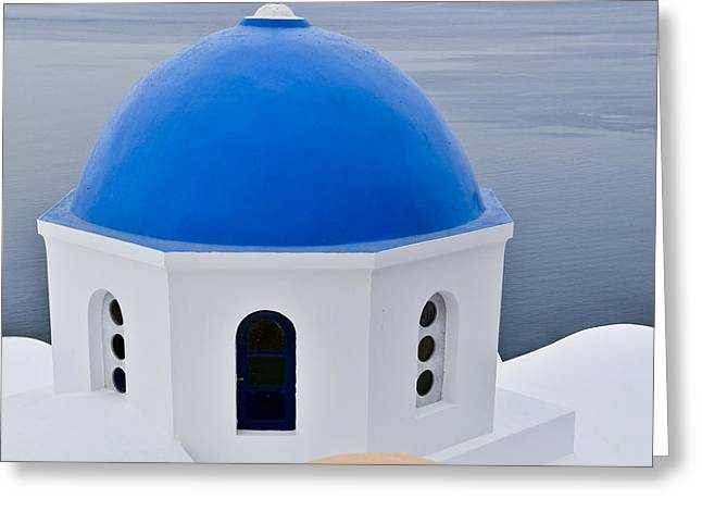 Religious Greeting Cards - Greek Blue Domed Church Greeting Card by Ning Mosberger-Tang