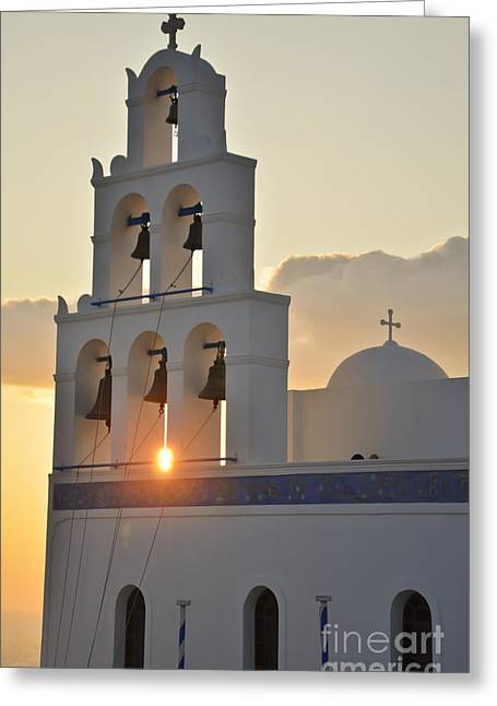 Religious Greeting Cards - Greek Church Sunset Greeting Card by Ning Mosberger-Tang