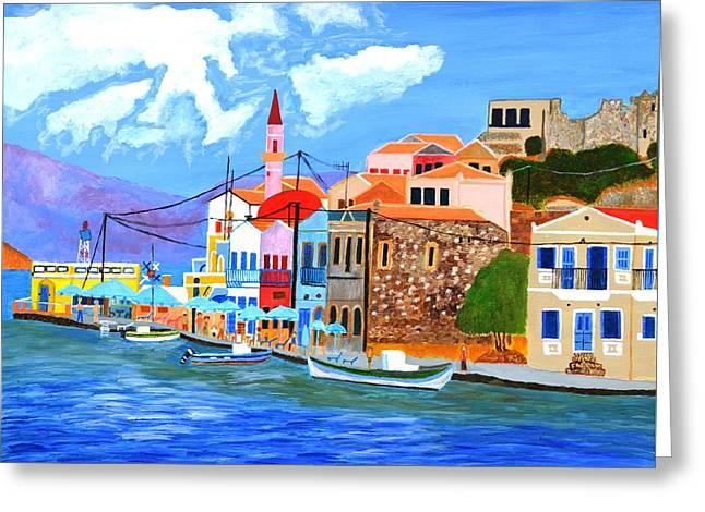 Greek Coast Greeting Card by Magdalena Frohnsdorff