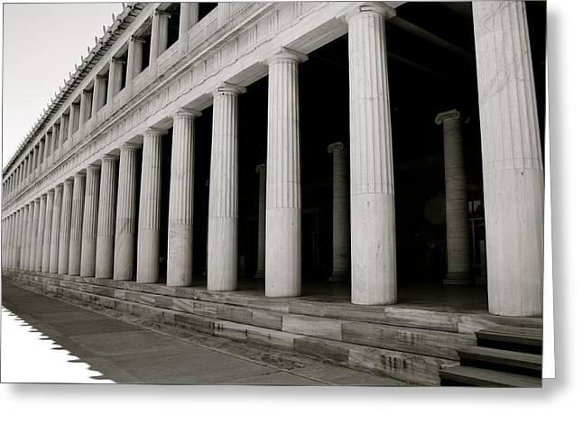 Greek Columns Black And White Greeting Card by Corinne Rhode