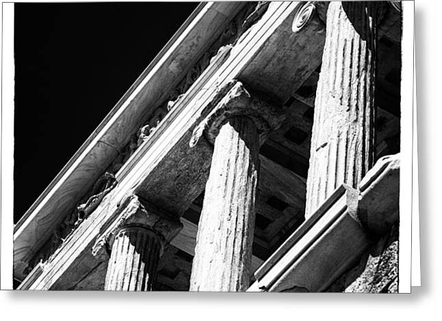 Greek Columns Greeting Card by John Rizzuto