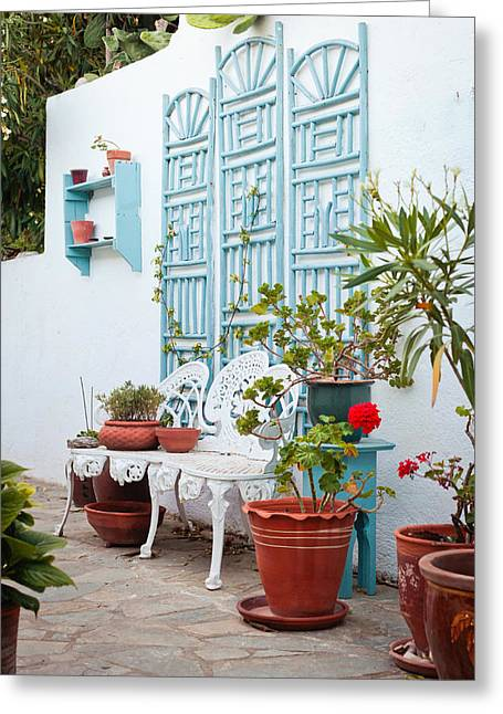 White Clay Greeting Cards - Greek courtyard Greeting Card by Tom Gowanlock