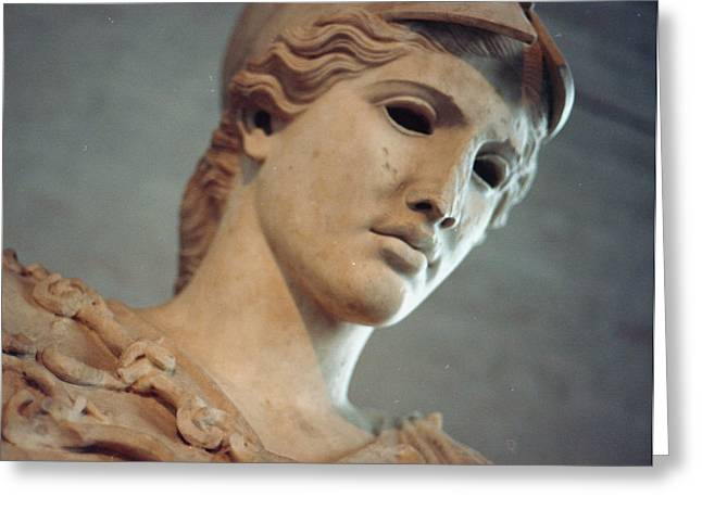 Greek Sculpture Greeting Cards - Greek Face Greeting Card by Marcio Faustino