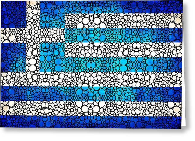 Greek Flag - Greece Stone Rock'd Art By Sharon Cummings Greeting Card by Sharon Cummings
