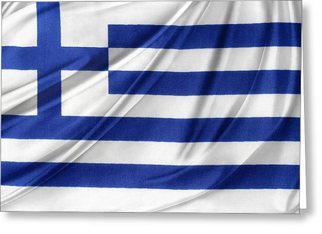 Ruffled Greeting Cards - Greek flag Greeting Card by Les Cunliffe
