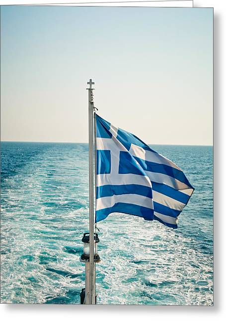 Breezy Greeting Cards - Greek flag Greeting Card by Tom Gowanlock