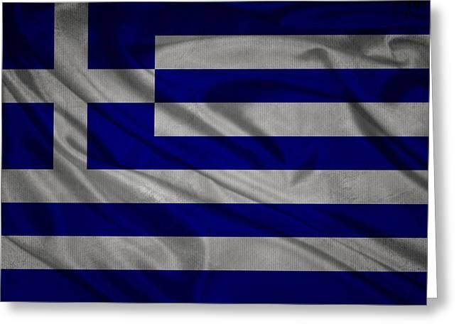 White Cloth Mixed Media Greeting Cards - Greek flag waving on canvas Greeting Card by Eti Reid