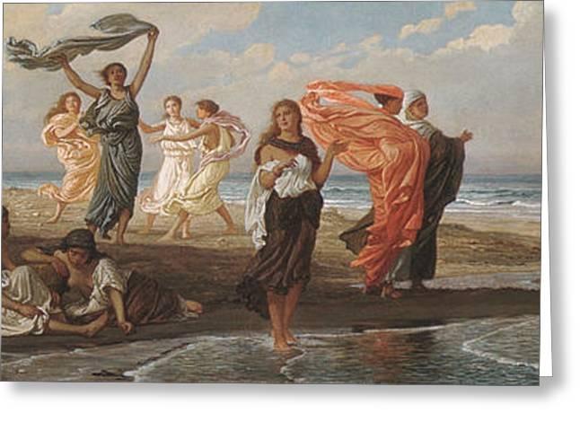 Vedder Greeting Cards - Greek Girls Bathing Greeting Card by Elihu Vedder