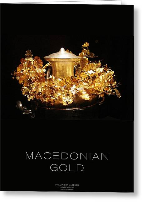Gold Earrings Greeting Cards - GREEK GOLD - Macedonian Gold Greeting Card by Helena Kay