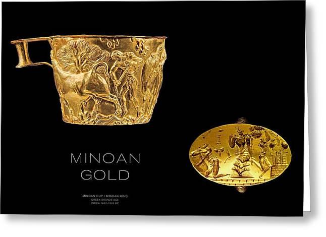 Gold Earrings Digital Greeting Cards - GREEK GOLD - Minoan Gold Greeting Card by Helena Kay