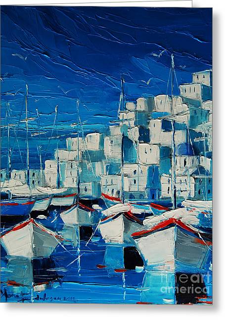 Greek Harbor Greeting Card by Mona Edulesco