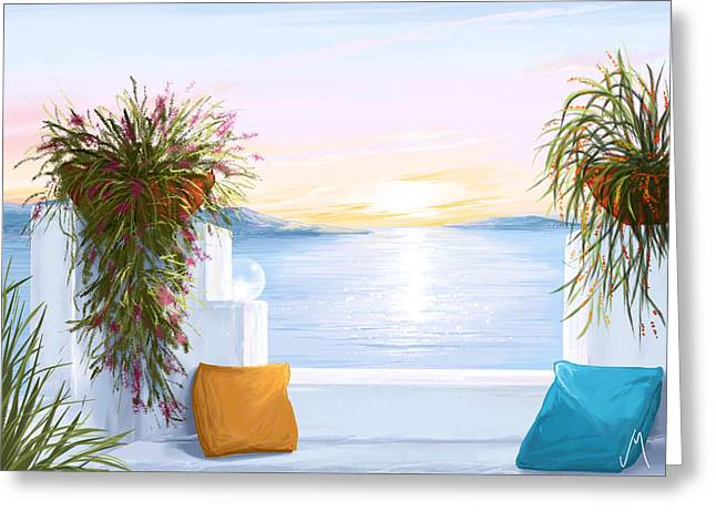 Sunset Seascape Greeting Cards - Greek house Greeting Card by Veronica Minozzi