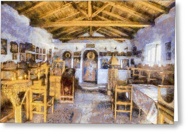 Altar Art Picture Greeting Cards - Greek Icons Greeting Card by Roy Pedersen
