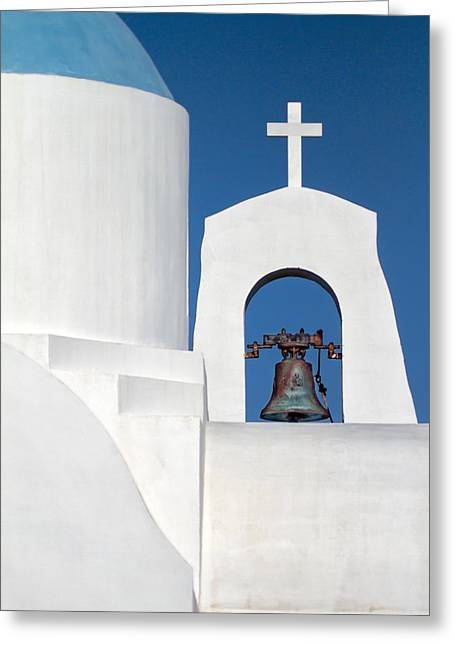 Oia Greeting Cards - Greek Island Church Greeting Card by Stylianos Kleanthous