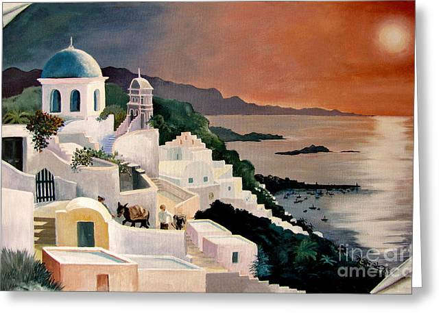 Buildings In The Harbor Greeting Cards - Greek Isles Greeting Card by Marilyn Smith