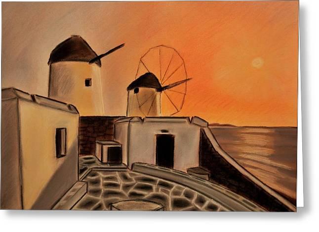 Greek Pastels Greeting Cards - Greek Landscape Windmills  Greeting Card by Dimitra Papageorgiou