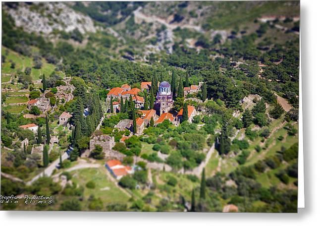 Emmanouil Klimis Greeting Cards - Greek monastery - Nea Moni Greeting Card by Emmanouil Klimis