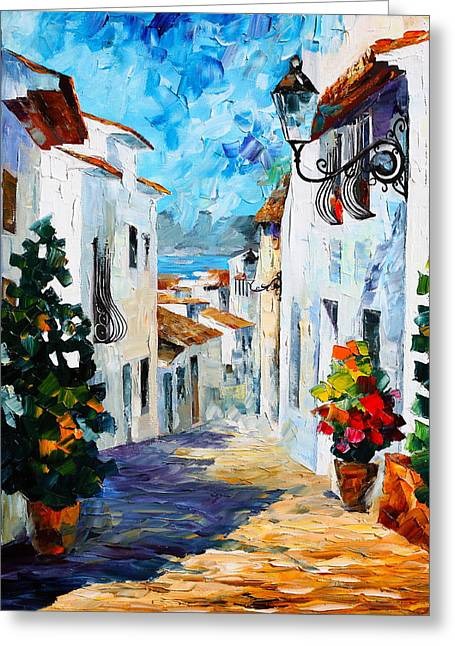 City Buildings Greeting Cards - Greek Mood new Greeting Card by Leonid Afremov