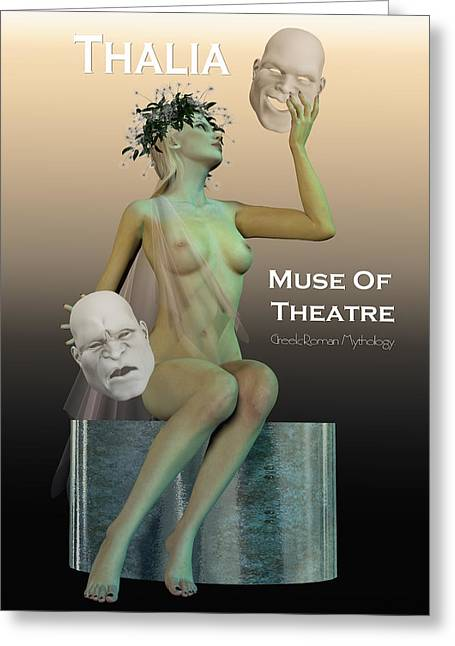 Infographic Greeting Cards - Greek Muse Thalia of Theatre Greeting Card by Joaquin Abella