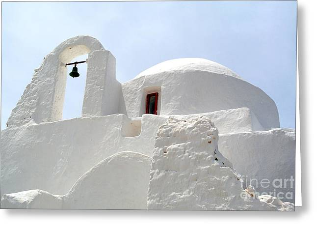 Greek Orthodox Church- Santorini Greeting Card by Sarah Christian