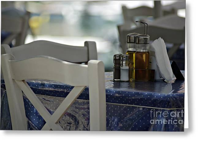 Wine Holder Photographs Greeting Cards - Greek Restaurant Greeting Card by Zoran Berdjan