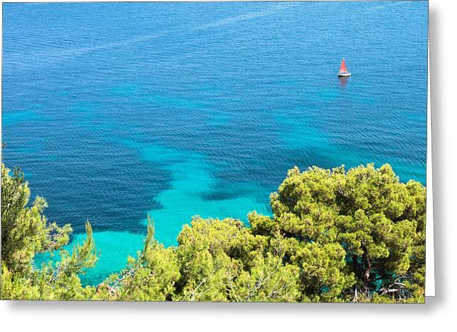 Aegean Greeting Cards - Greek sea view Greeting Card by Tom Gowanlock