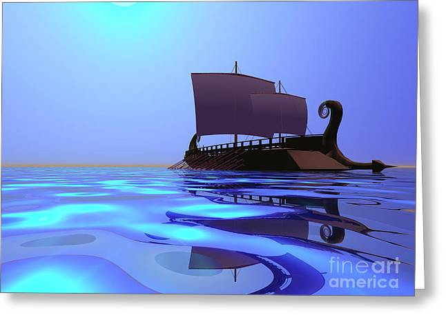 Clippers Digital Art Greeting Cards - Greek Ship Greeting Card by Corey Ford