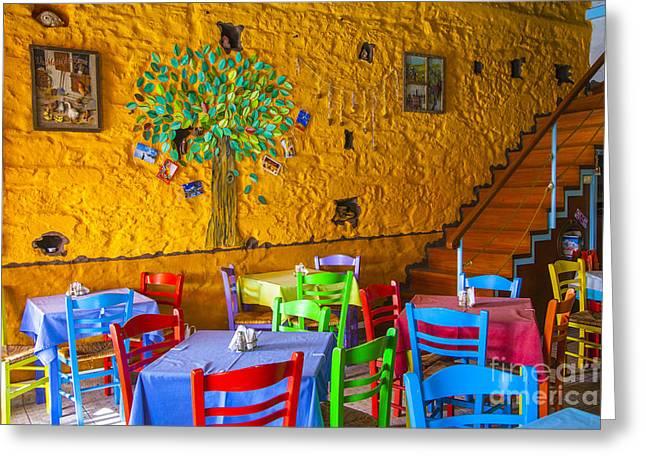 Wine Holder Photographs Greeting Cards - Greek Taverna Greeting Card by Eleni Mac Synodinos