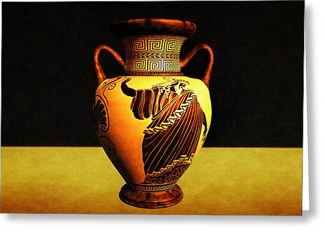 Singular Greeting Cards - Greek Vase Greeting Card by Ramon Martinez