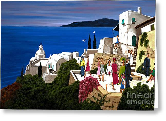 William Cain Greeting Cards - Greek Wedding Greeting Card by William Cain