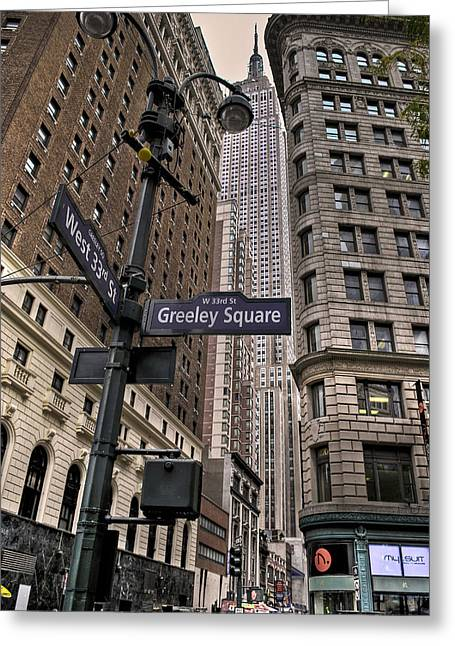 Greeley Greeting Cards - Greeley Square Greeting Card by Ryan Crane