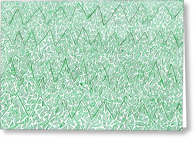 Geometric Image Drawings Greeting Cards - Green 100 Greeting Card by J A   Art Gallery