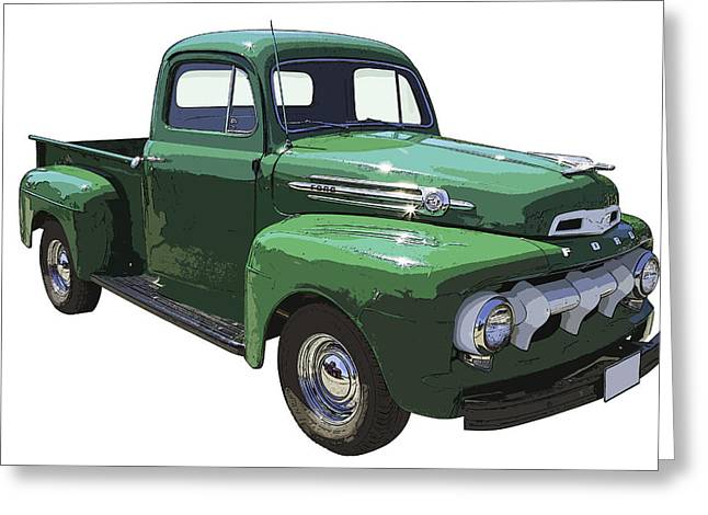 Made Digital Art Greeting Cards - Green 1951 Ford F-1 Pick Up Truck Illustration  Greeting Card by Keith Webber Jr